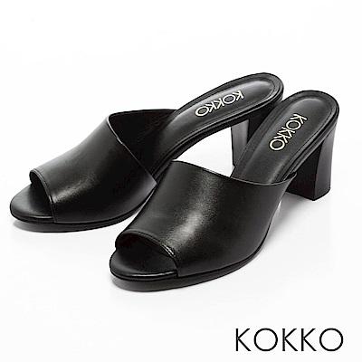 KOKKO -相遇在米蘭寬版粗高跟涼拖鞋-注目黑