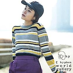 E hyphen 條紋配色羅紋針織上衣