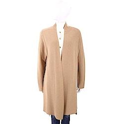 MARELLA 喀什米爾駝棕色坑條織紋開襟長版羊毛罩衫