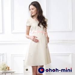 ohoh-mini 孕婦裝 幻化少女心前衣蕾絲鍛帶孕婦洋裝-3色