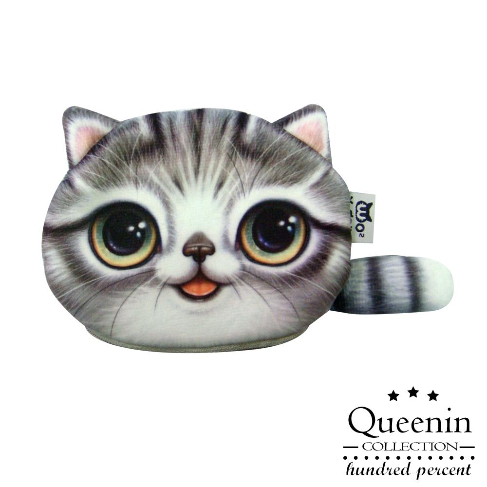 DF Queenin皮夾 - 超可愛大眼水汪貓星人零錢包-灰斑貓