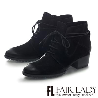 Fair Lady 時尚率性繫帶方型鞋跟短靴 黑