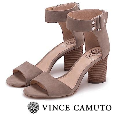 Vince Camuto 經典個性攜帶鉚釘粗跟鞋-絨灰