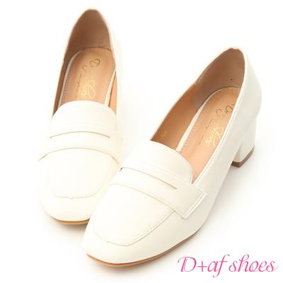 D+AF 學院精選.經典款中跟樂福鞋*白