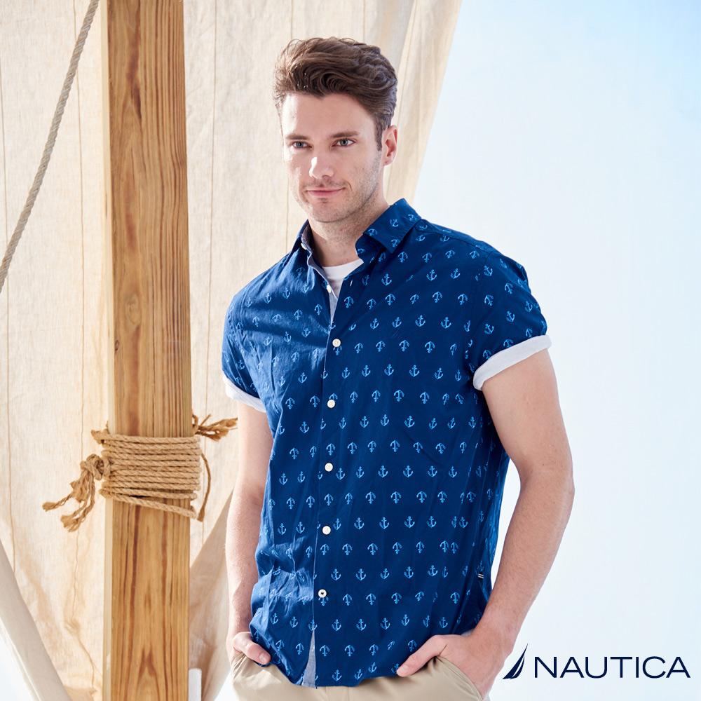 Nautica時尚船錨圖騰短袖襯衫 -藍