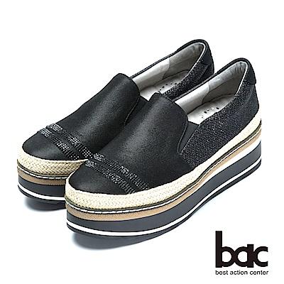 bac時尚混搭金屬色混搭時尚厚底鞋-黑