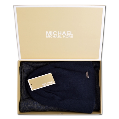 MICHAEL KORS 雙色針織滿版LOGO圍巾/毛帽禮盒組-深藍/灰