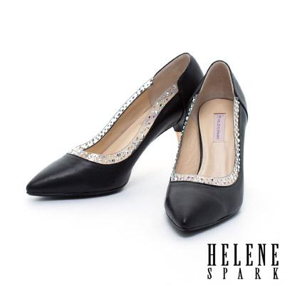 高跟鞋-HELENE-SPARK-異材質拼接晶鑽羊