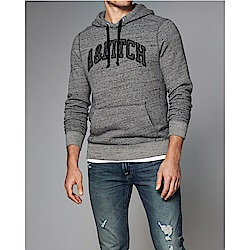 A&F 經典刺繡文字連帽T恤-灰色 AF Abercrombie
