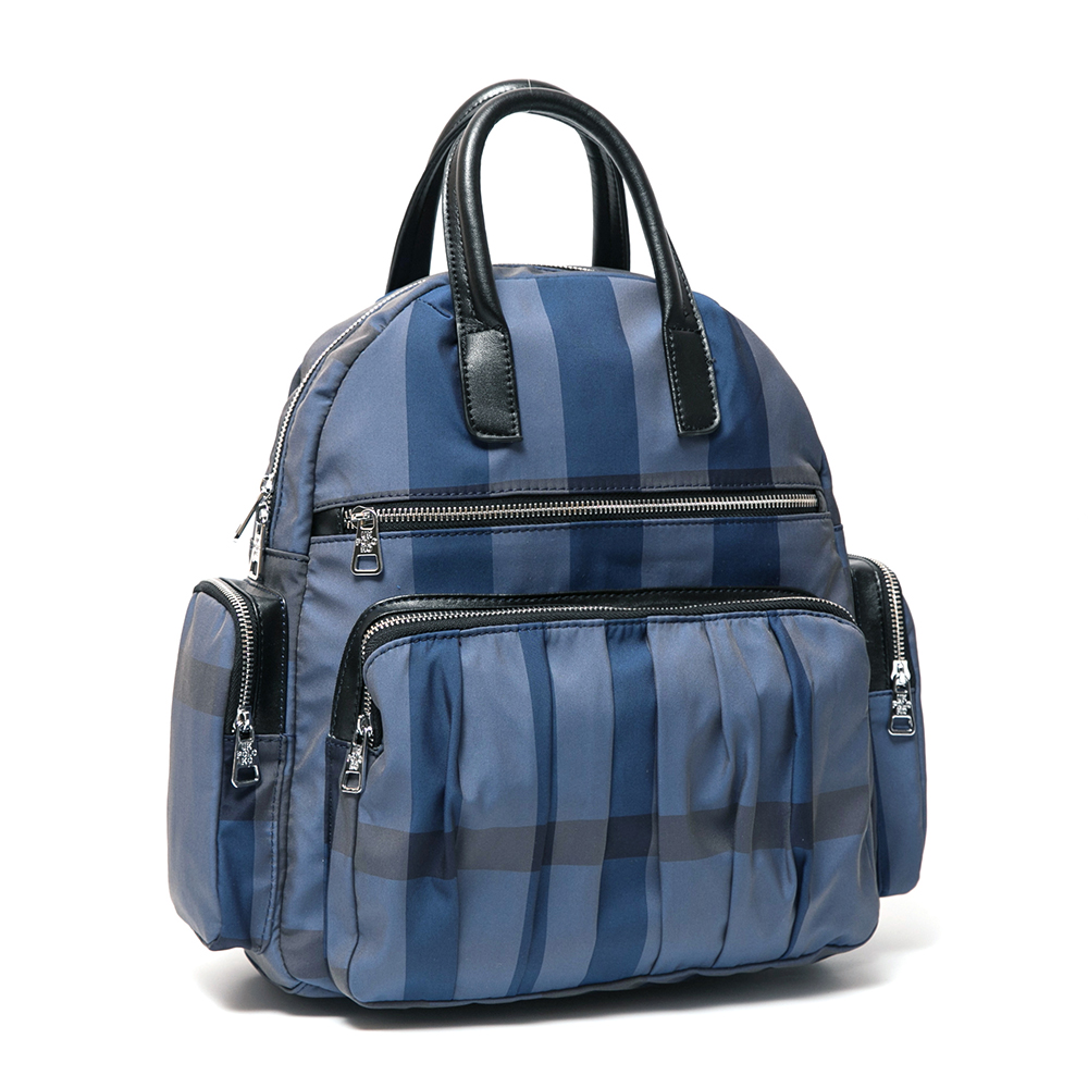 ANGIMI SHOP 後背手提人氣格紋兩用包-藍格