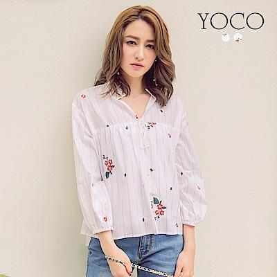 東京著衣-yoco 清新小V領花刺繡澎澎七分袖襯衫-S.M.L(共二色)