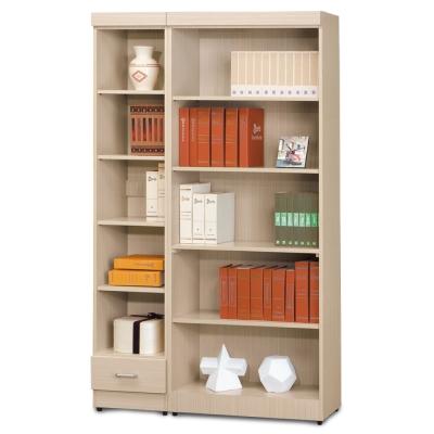 AS-傑西考克白橡色有抽開放式1.3尺+無抽開放式2.6尺書櫃-119x32x185cm