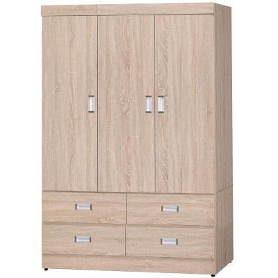 品家居 維克日式4x6尺橡木紋開門四抽衣櫃