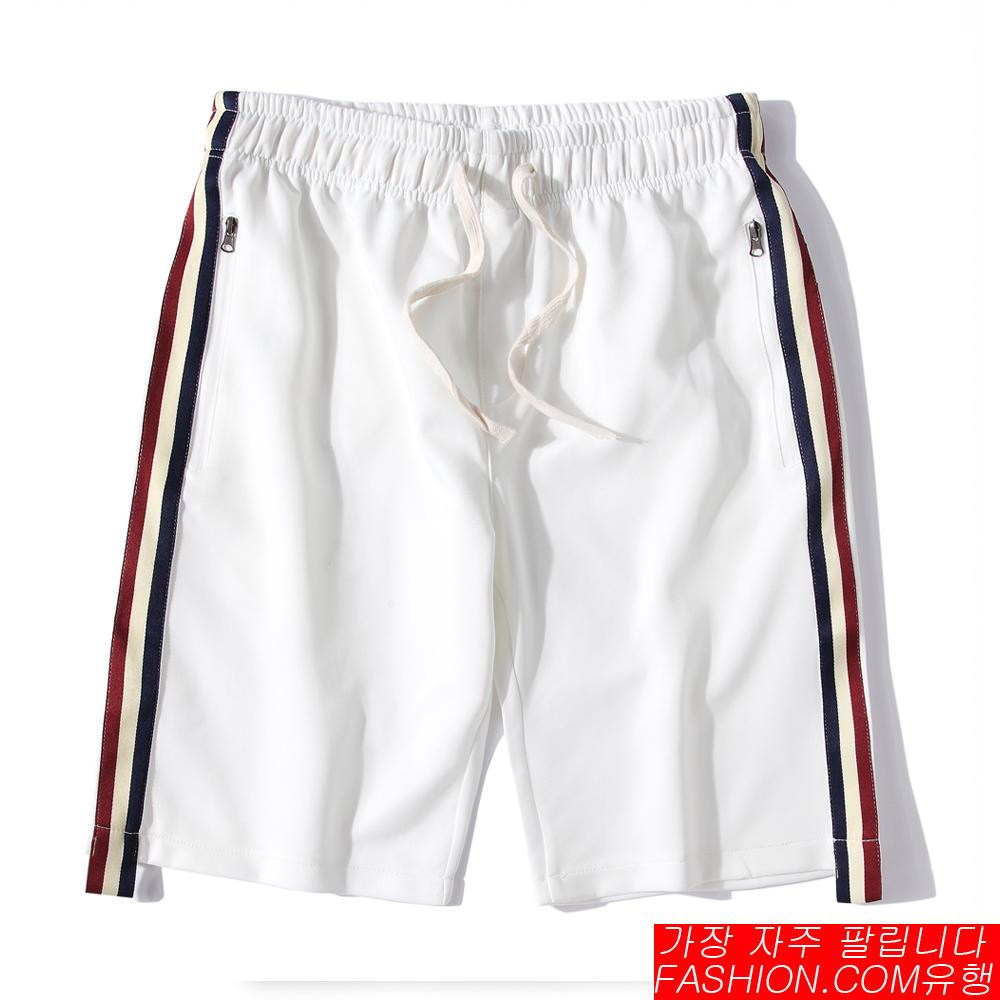 FASHION館 韓系側邊織帶OUTDOOR短褲 麻花棉褲
