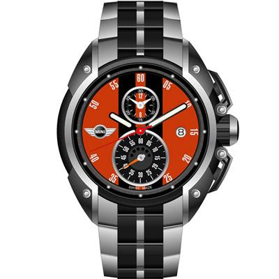 MINI Swiss Watches 跑旅時尚計時腕錶-橘鋼帶款/45mm