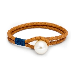 Kiel James Patrick 焦糖棕色皮革雙層編織單圈珍珠手鍊手環