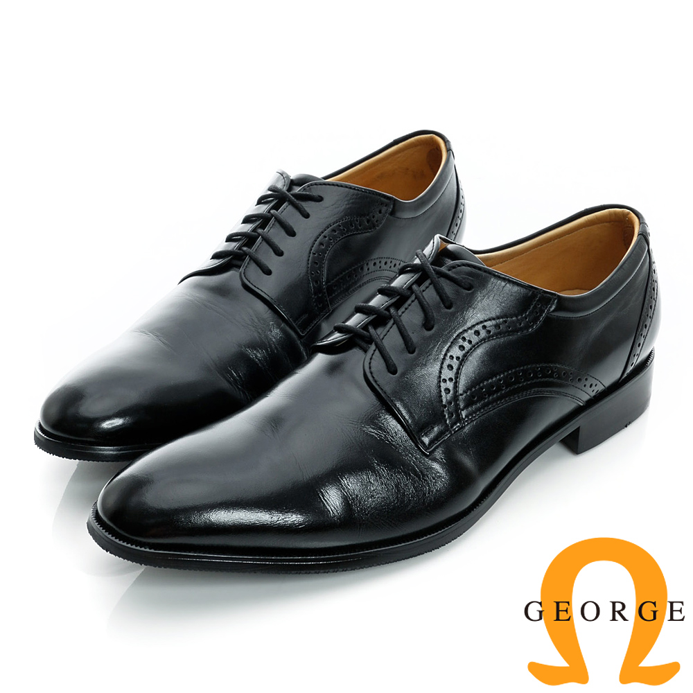 GEORGE-經典素面綁帶後雕花真皮紳士皮鞋-黑色