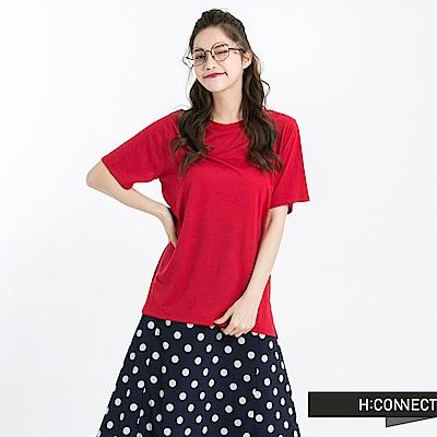 H:CONNECT 韓國品牌 女裝 -圓領純色柔軟T-Shirt-紅