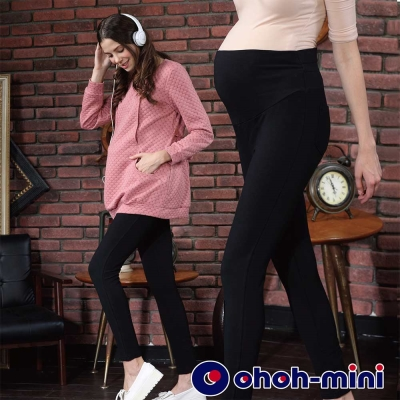 ohoh-mini-孕婦裝-合身貼腿針織孕婦褲-黑色