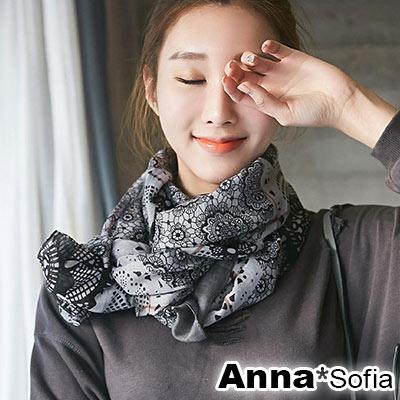 AnnaSofia 花藤朵印 拷克邊韓國棉圍巾披肩(灰黑系)