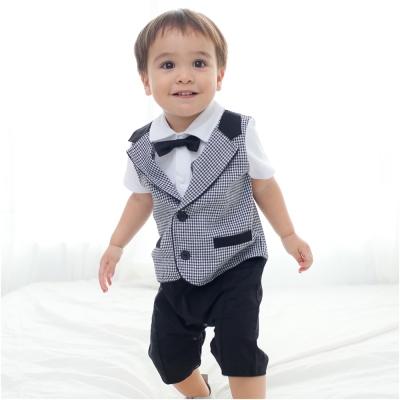 baby童衣 嬰兒千鳥格紳士領結短袖連身衣 60241