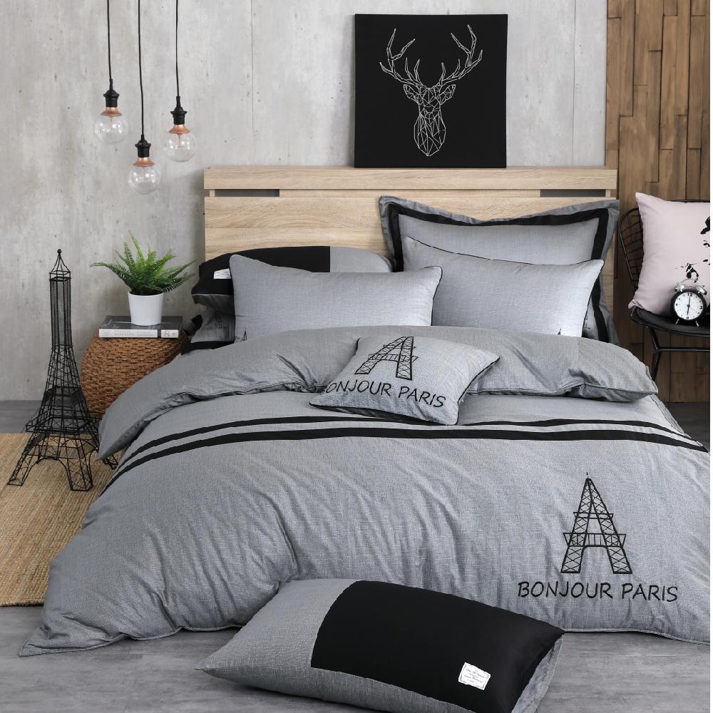 OLIVIA  奧斯汀 深灰 雙人兩用被床包四件組 設計師原創系列