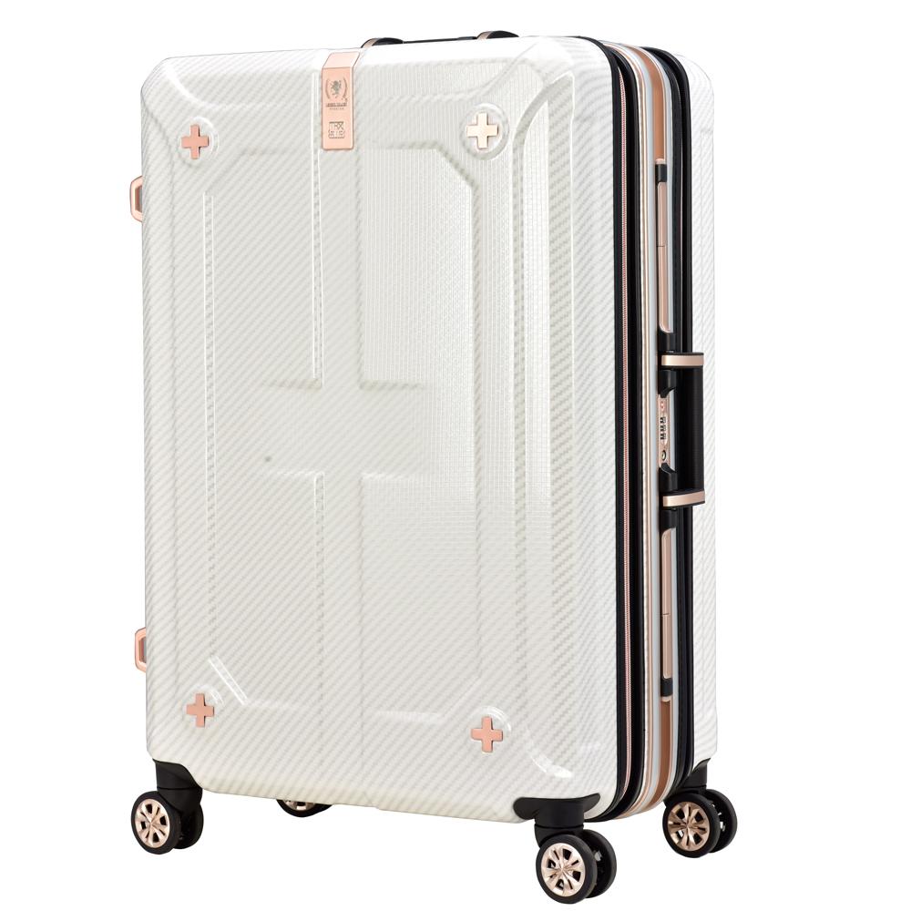 日本LEGEND WALKER 6707-60-25吋 鋁框輕量行李箱(可擴充) 碳纖白
