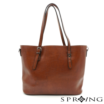 SPRING-大理石紋簡單生活托特包-棕