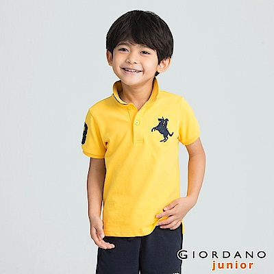 GIORDANO 童裝拿破崙刺繡短袖POLO衫-56 水仙花黃