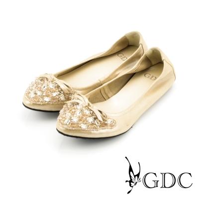 GDC-質感蝴蝶結水鑽真皮平底娃娃鞋-金色