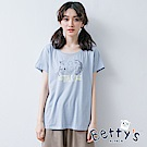 betty's貝蒂思 貓咪印花短袖T-shirt(淺藍)