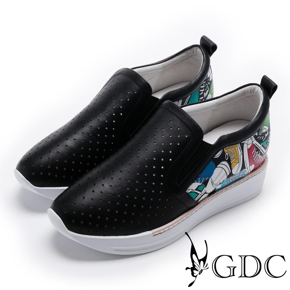 GDC-真皮趣味滿版帆布鞋厚底休閒鞋-黑色
