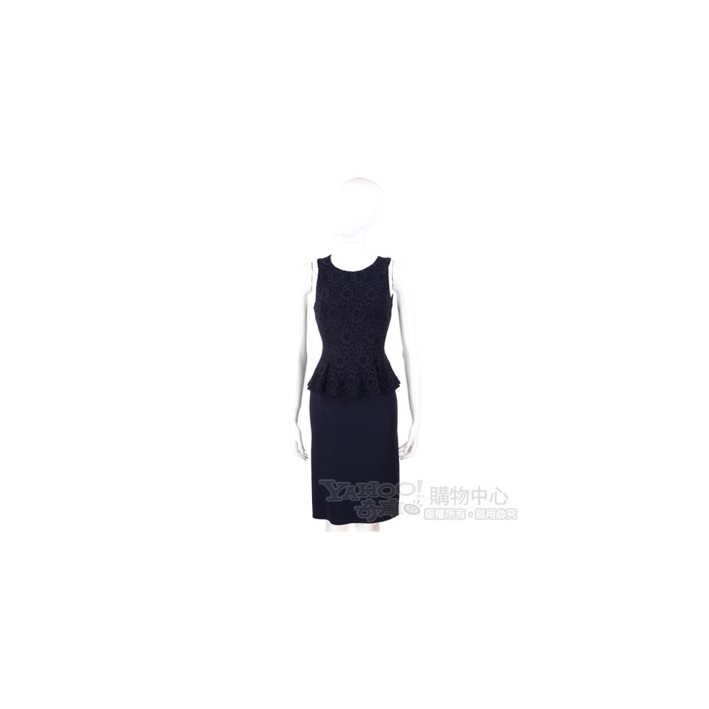 NINA 深藍色蕾絲拼接設計無袖洋裝