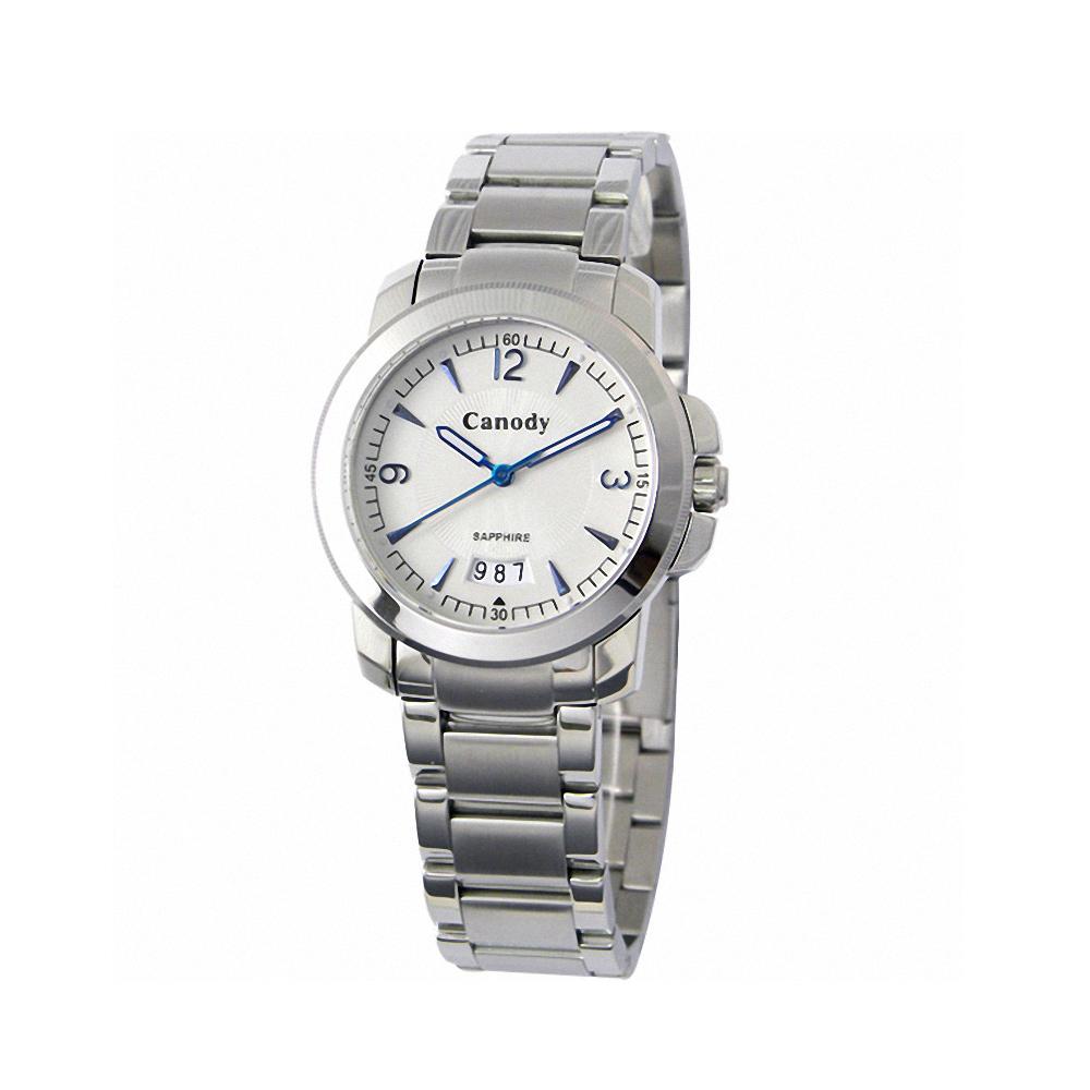 Canody 流轉時光藍寶石鏡面腕錶-白x藍針/大-36mm