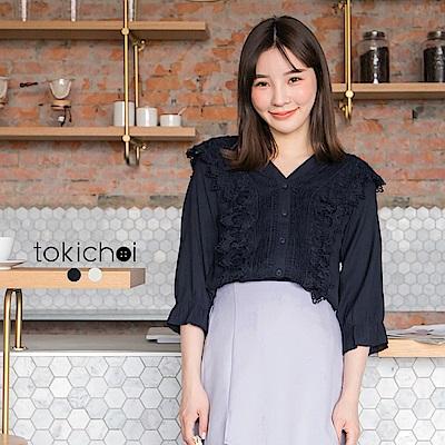 東京著衣 優雅蕾絲領排釦上衣-S.M.L(共二色)