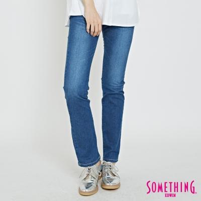 SOMETHING V-HIP提臀直筒褲-女-中古藍