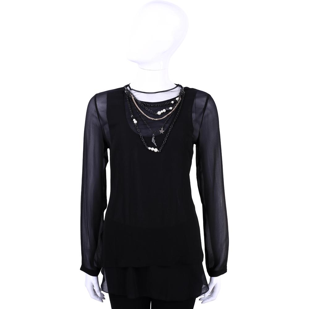 MOSCHINO 黑色珠鍊綴飾設計長袖紗質上衣(不含內裡)