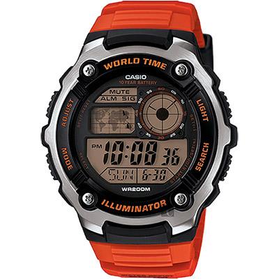 CASIO卡西歐 10年電力世界時間手錶~橘 47.7mm