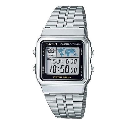CASIO 復古風數字復刻地圖液晶顯示腕錶(A-500WA-1A)-銀X黑框/34mm