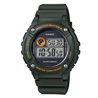 CASIO 元氣數位美學實用必備休閒錶(W-216H-3B)-軍綠色/43mm