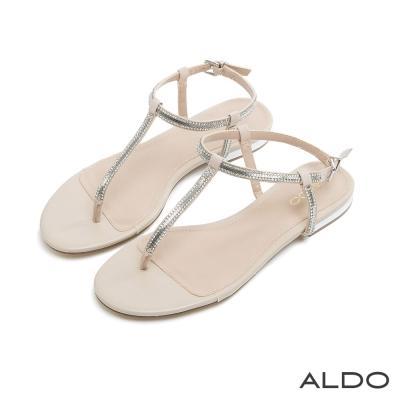 ALDO 閃耀動人T字鑲嵌水鑽金屬釦帶涼鞋~名媛裸色