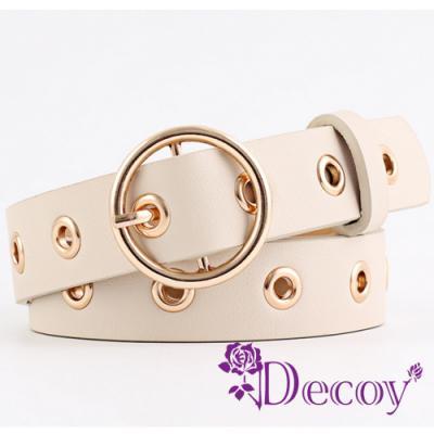 Decoy 個性圓扣 金屬鏤空粗皮革皮帶 三色可選