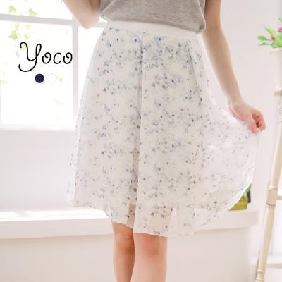 東京著衣-yoco 湛藍微風細褶雪紡中長裙-S.M.L(共二色)