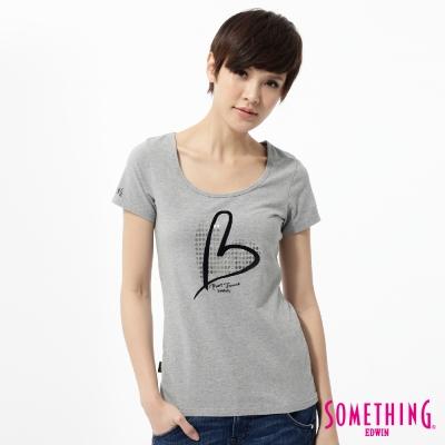 SOMETHING T恤 優雅愛心印花T恤 -女-麻灰