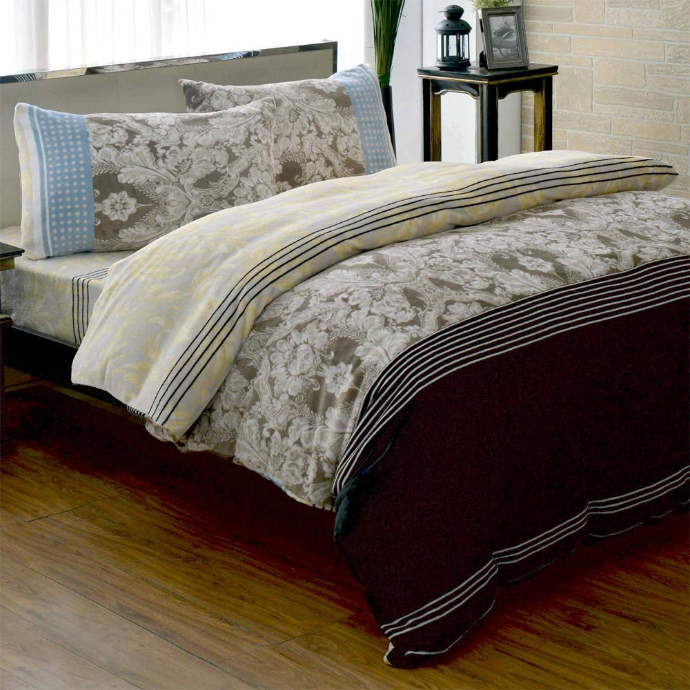 彩舍家居 秘境花苑 頂級法蘭絨雙人舖棉床包被套組