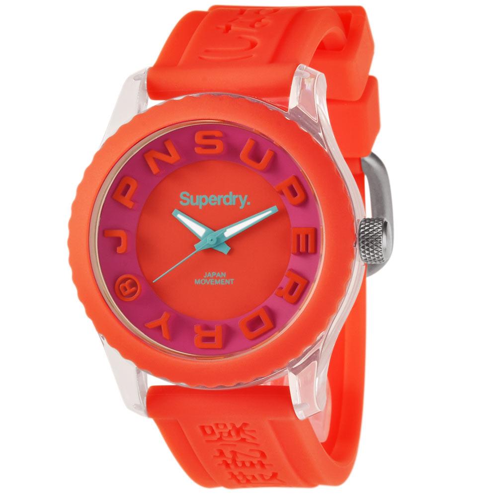 Superdry 極度乾燥 街頭俏皮 矽膠 運動腕錶-橘帶/橘面/38mm