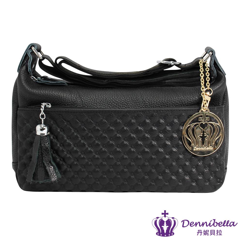Dennibella 丹妮貝拉 - 斜背/側背/肩背包 -真皮流蘇果凍手提包包漆黑色