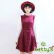 betty-s貝蒂思-優雅格紋假兩件式混羊毛洋裝