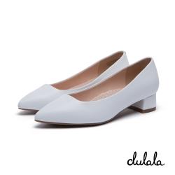 達芙妮DAPHNE dulala系列 高跟鞋-素面細格紋尖頭高跟鞋-白