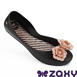 Zaxy 巴西 女 浪漫花季平底娃娃鞋-黑色/粉色